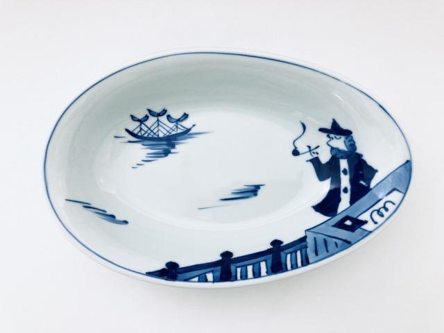 便り異人 たまご型カレー皿 しん窯 青花