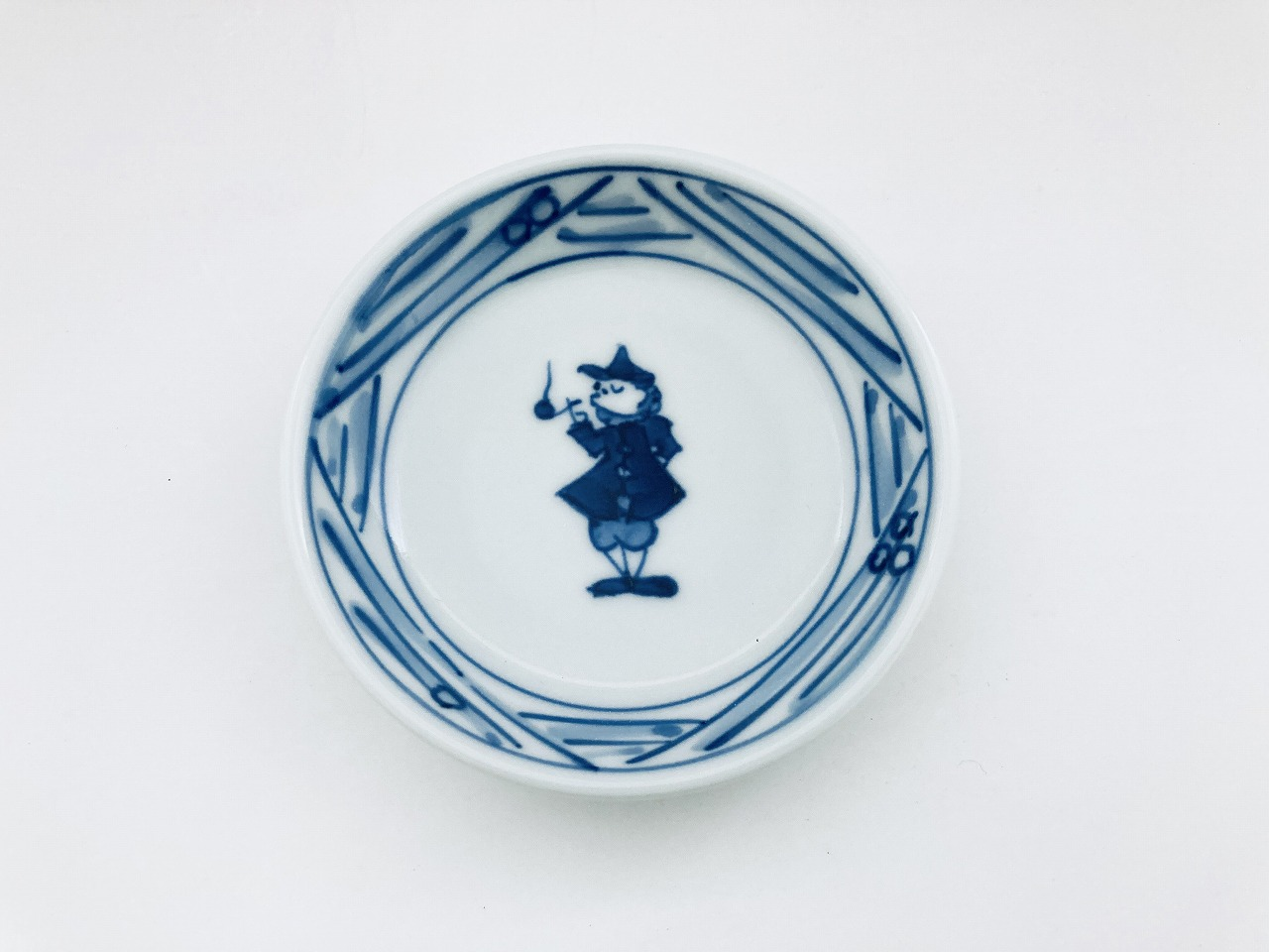 長崎紋渕上り3寸皿 しん窯青花