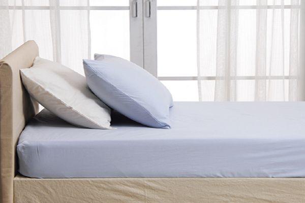 おしゃれな洗えるツイル織ベッドシーツ・ボックスシーツのシングルセミダブルダブルサイズ共通のブルー