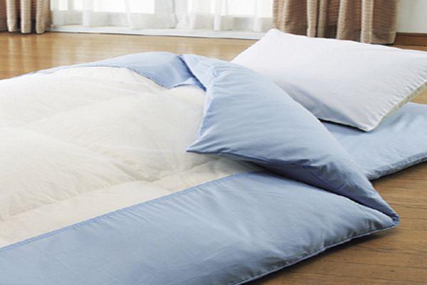 綿100%のおすすめ洗える掛布団カバーシングルサイズ150×210cmおしゃれなネット張り布団カバーのブルー