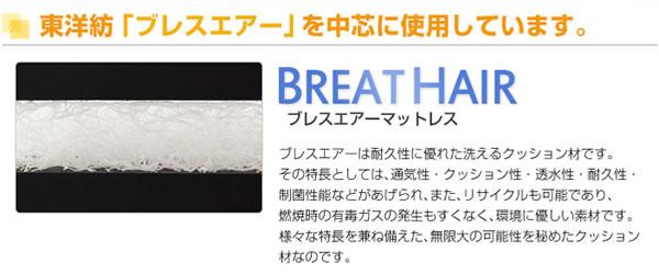 大人気のおすすめの洗えるマットレス敷布団東洋紡ブレスエアーのブレスエアー構造中芯の説明