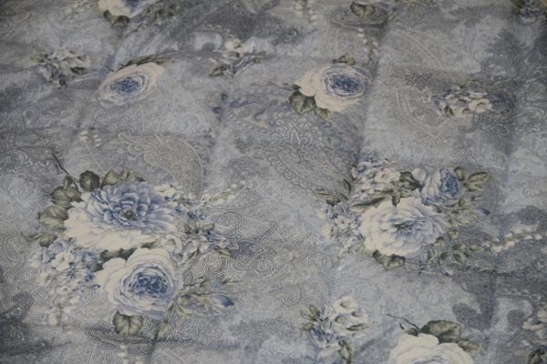 京都西川の三層式の敷布団日本製花柄シングルサイズ100×210cmのソラーレ硬めタイプの敷布団ブルー生地アップ