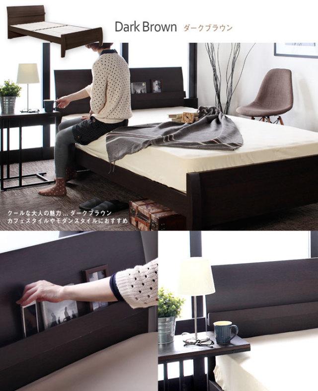人気のおすすめベッドマットレスのヘッドボード、ベッドフレームのブラウンカラーイメージ