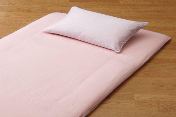 おしゃれで丈夫なツイル織の洗える敷布団用フラットシーツシングルサイズのピンク画像