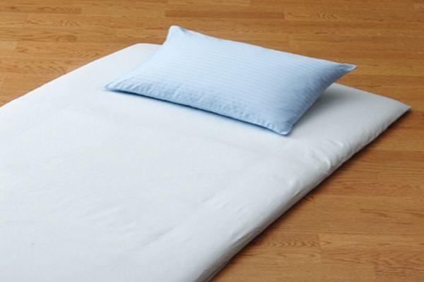 おしゃれで丈夫なツイル織の洗える敷布団用フラットシーツシングルサイズのブルー画像