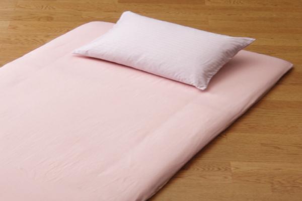 おしゃれで丈夫なツイル織の洗える敷布団用ワンタッチシーツシングルサイズのピンク画像