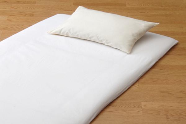 おしゃれで丈夫なツイル織の洗える敷布団用ワンタッチシーツシングルサイズのホワイト画像