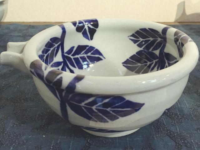 五山焼(いつつやまやき) 「片口 中鉢 (アジサイ)」 ~信州の陶芸家 朝比奈克文氏 陶芸作品
