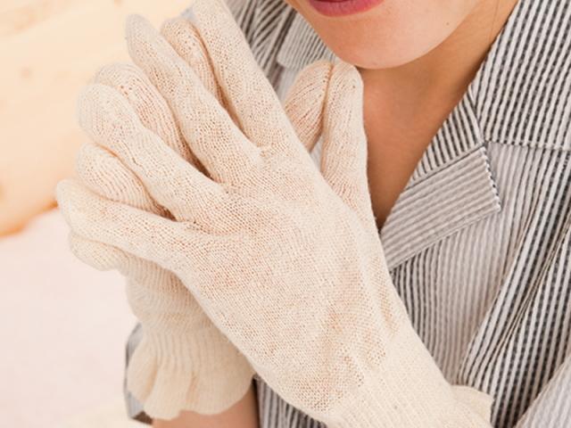 麻福ヘンプ 「おやすみ手袋」 (べんがら手染め 生成)