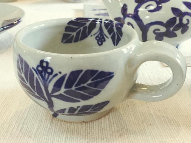 五山焼(いつつやまやき) 「スープマグ (アジサイ)」 ~信州の陶芸家 朝比奈克文氏 陶芸作品