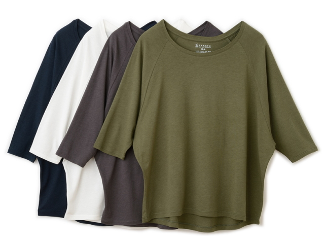 TAKEFU 竹布 ドルマン七分袖Tシャツ Lady's  ~癒しと生命力をもたらす天然素材~