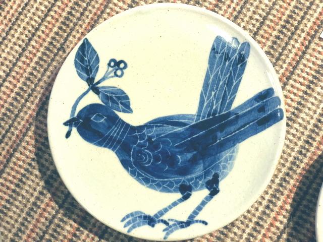 五山焼(いつつやまやき) 「鳥の皿」 ~信州の陶芸家 朝比奈克文氏 陶芸作品