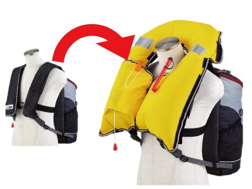 リュック一体型ライフジャケット 「TSUNAGUARD (ツナガード) TG-A1R」 ~自動膨張式ライフジャケットタイプ+スタンダード型リュックの津波・水難事故対策アイテム~