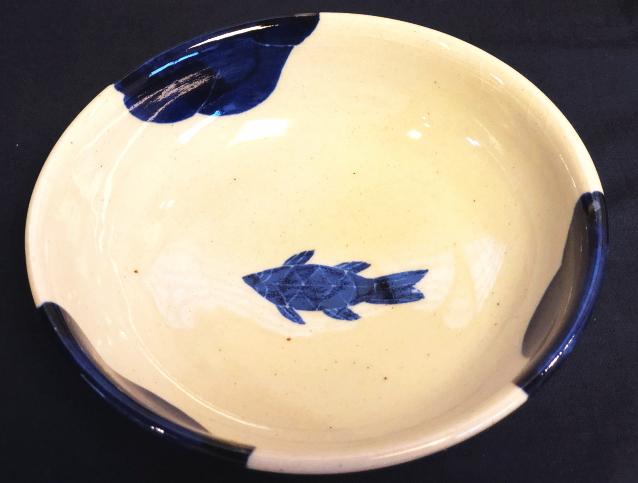 五山焼(いつつやまやき) 「魚鉢」 ~信州の陶芸家 朝比奈克文氏 陶芸作品