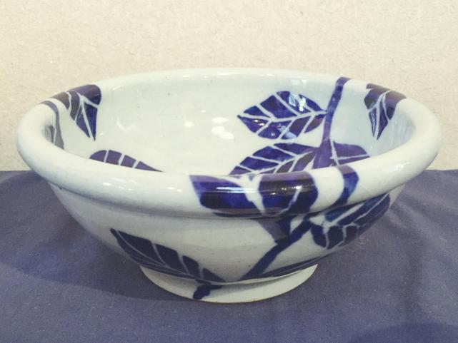 五山焼(いつつやまやき) 「草紋鉢 中鉢」 ~信州の陶芸家 朝比奈克文氏 陶芸作品