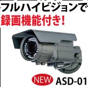 ASD-01,家庭用防犯カメラ,フルハイビジョン,200万画素,防水構造IP66,夜間撮影距離約30m,オルタプラス,SDカード録画