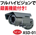 ASD-01,防犯カメラ,フルハイビジョン,200万画素,防水構造IP66,夜間撮影距離約30m,オルタプラス,SDカード録画