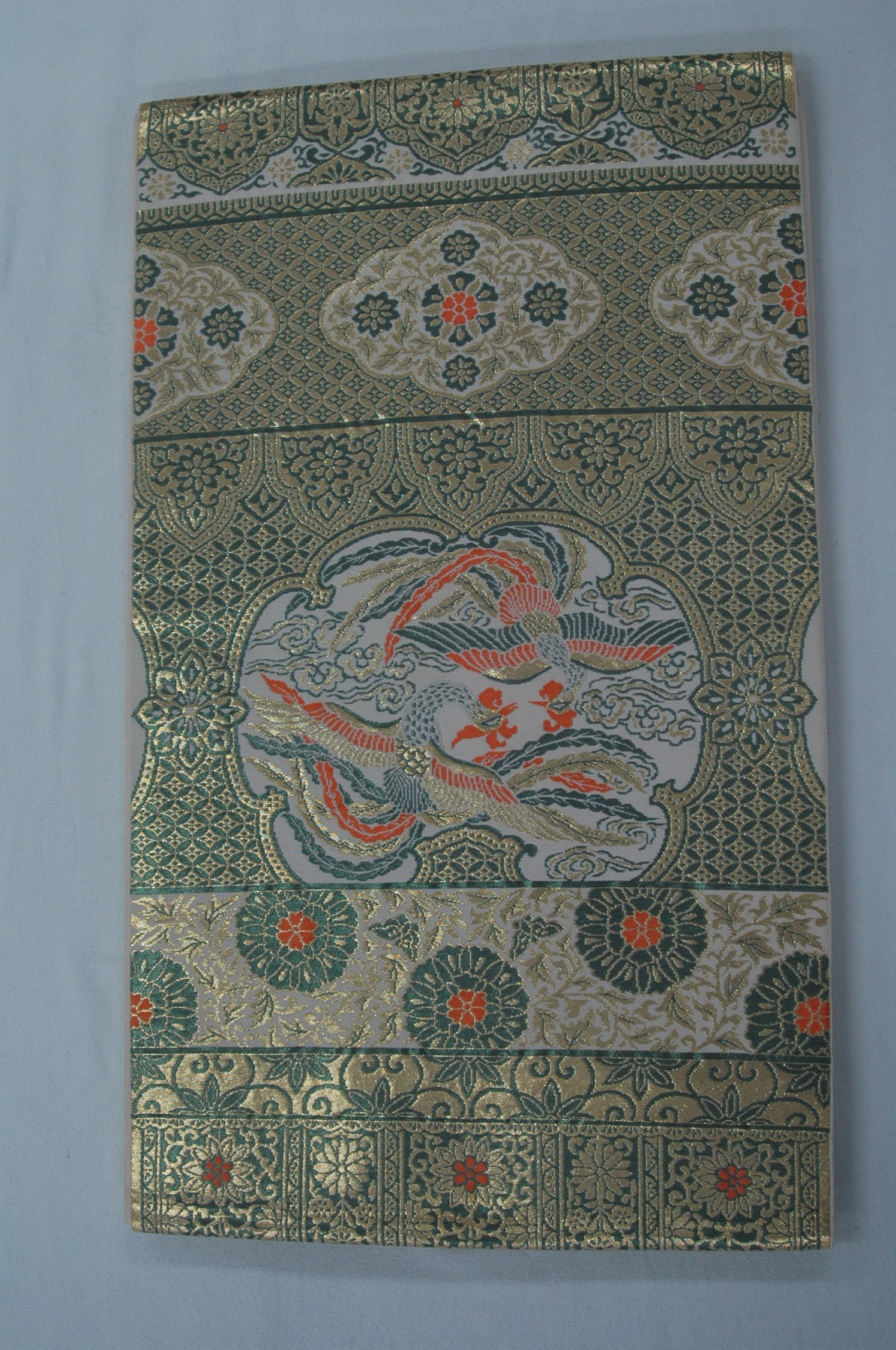 Monoki「モノキ」 【仕立て上がり 袋帯 金・緑 鳳凰柄 2140】 着物リメイク&リユース リサイクル