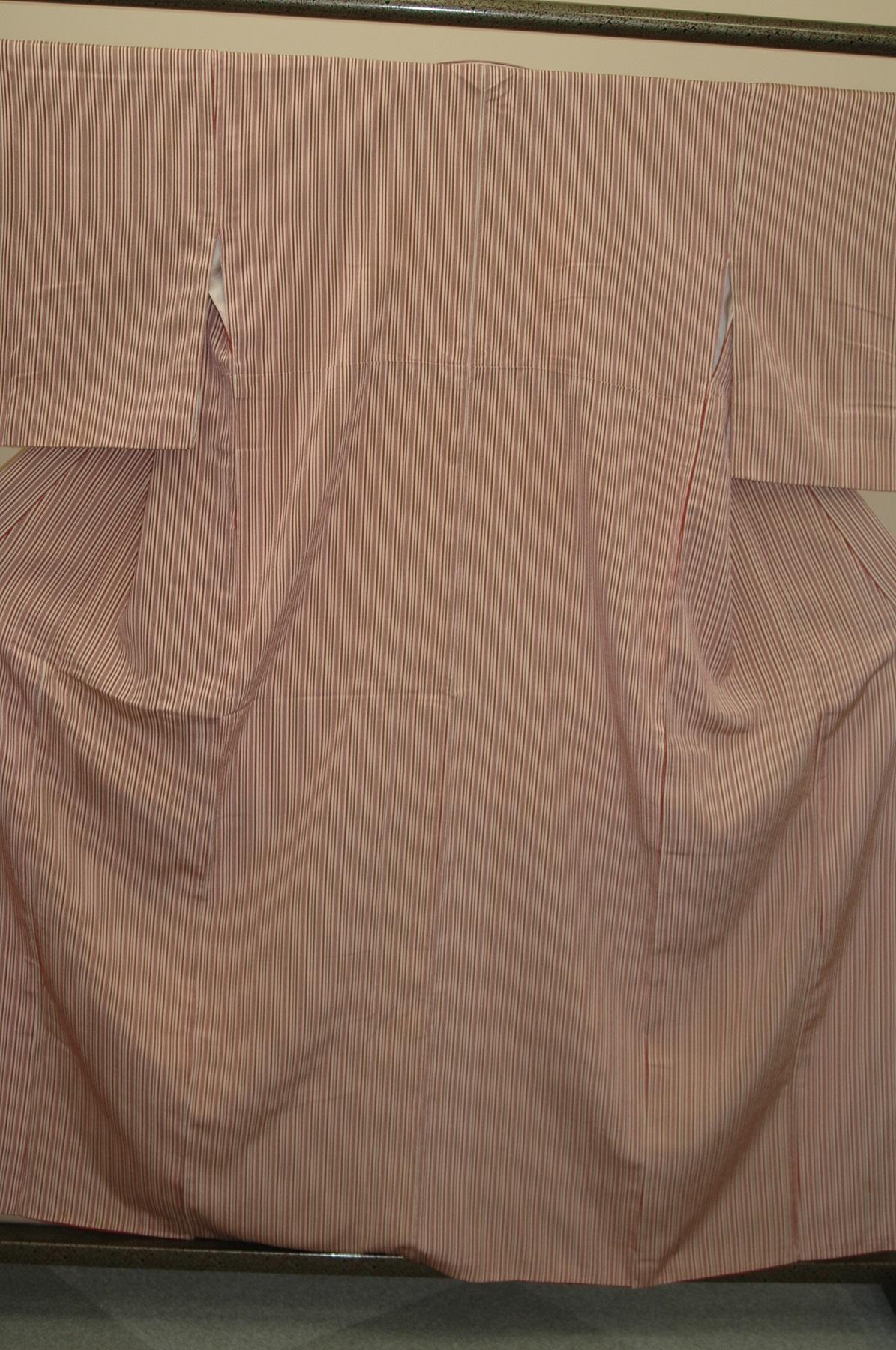 Monoki「モノキ」 【小紋 白地に赤縦縞 2151】 着物リメイク&リユース リサイクル