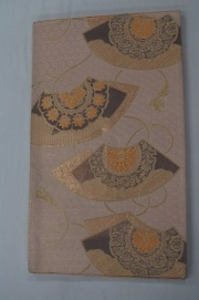 Monoki「モノキ」 【仕立て上がり 袋帯 薄金色 扇面 2143】 着物リメイク&リユース リサイクル