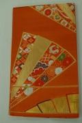 Monoki「モノキ」 【仕立て上がり 袋帯 オレンジ 扇柄 2145】 着物リメイク&リユース リサイクル