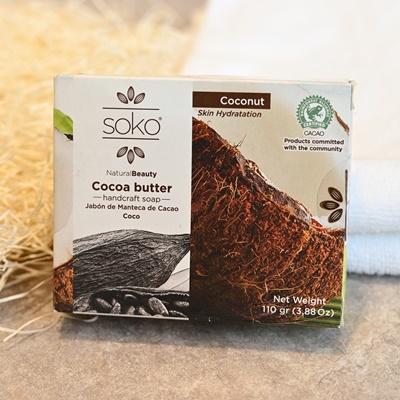 【カカオバターたっぷり!Sokoのナチュラル石鹸(ココナッツ)】エクアドル産固定種のカカオで、肌を癒して保湿してくれる優しさが自慢の手作り石鹸