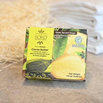 【カカオバターたっぷり!Sokoのナチュラル石鹸(グリーンティー&ジンジャー】エクアドル発、肌を癒して保湿してくれる優しさが自慢の手作り石鹸