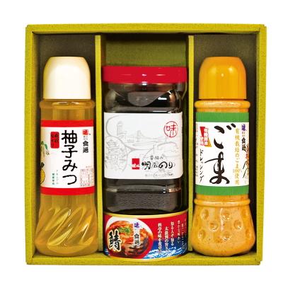 ごまドレ・柚子みつ・明石のり・鯖缶(ギフトセットG-13)