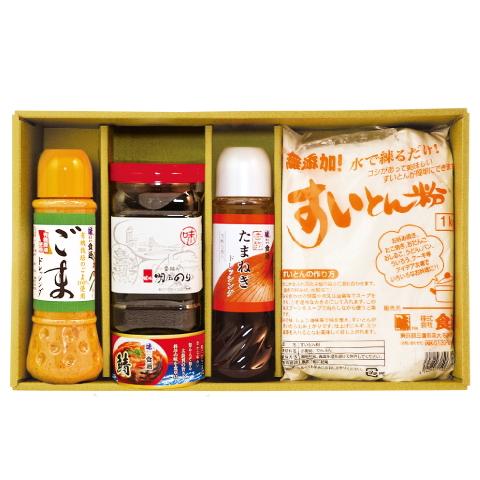 ごまドレ・たまねぎドレ・明石のり・鯖缶・すいとん粉(ギフトセットG-21)