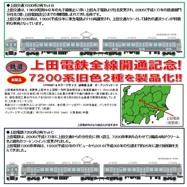 鉄コレ 上田交通7200系(緑濃淡帯)B/(クリーム/紺色帯)C 各2両セット