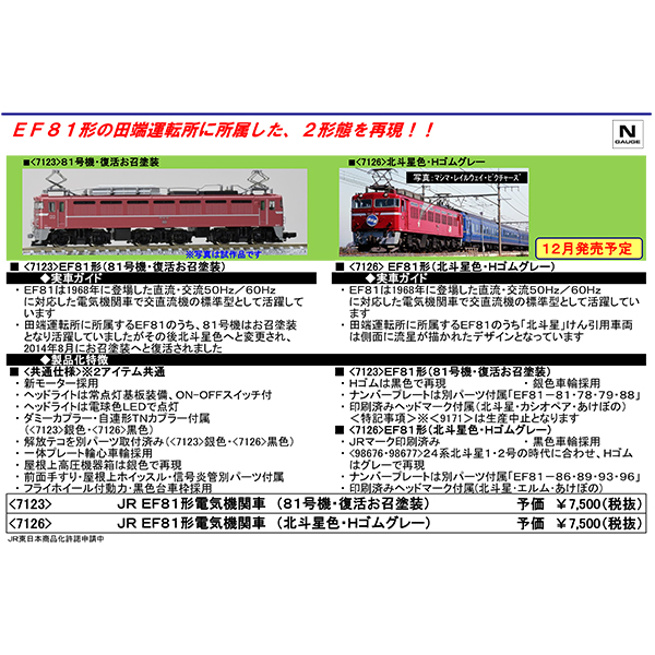 EF81(81号機・復活お召塗装)/(北斗星色・Hゴムグレー)