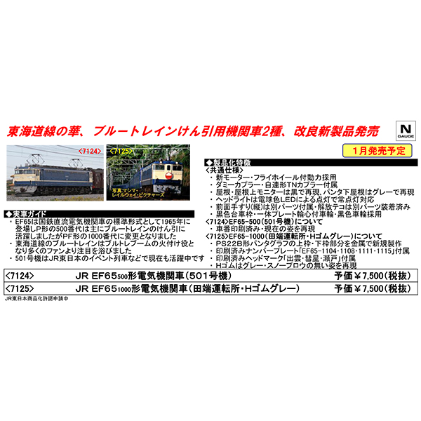 EF65形500番台(501号機)/1000番台(田端運転所・Hゴムグレー)