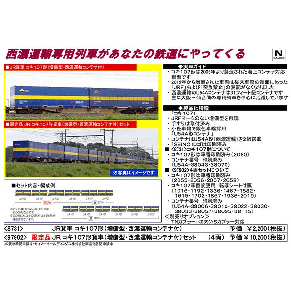 コキ107形(増備型・西濃運輸コンテナ付)
