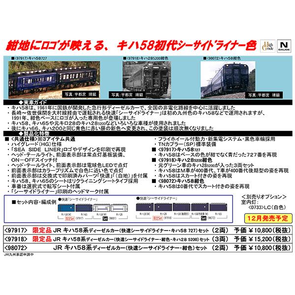 キハ58系ディーゼルカー(快速シーサイドライナー・紺色)