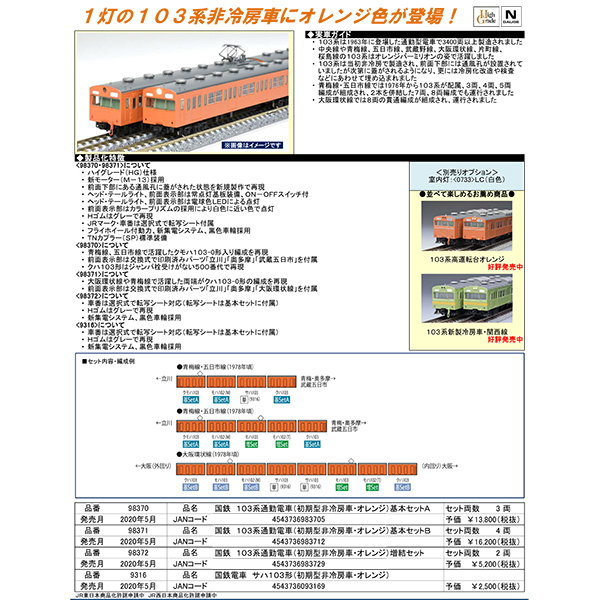 103系(初期型非冷房車・オレンジ)