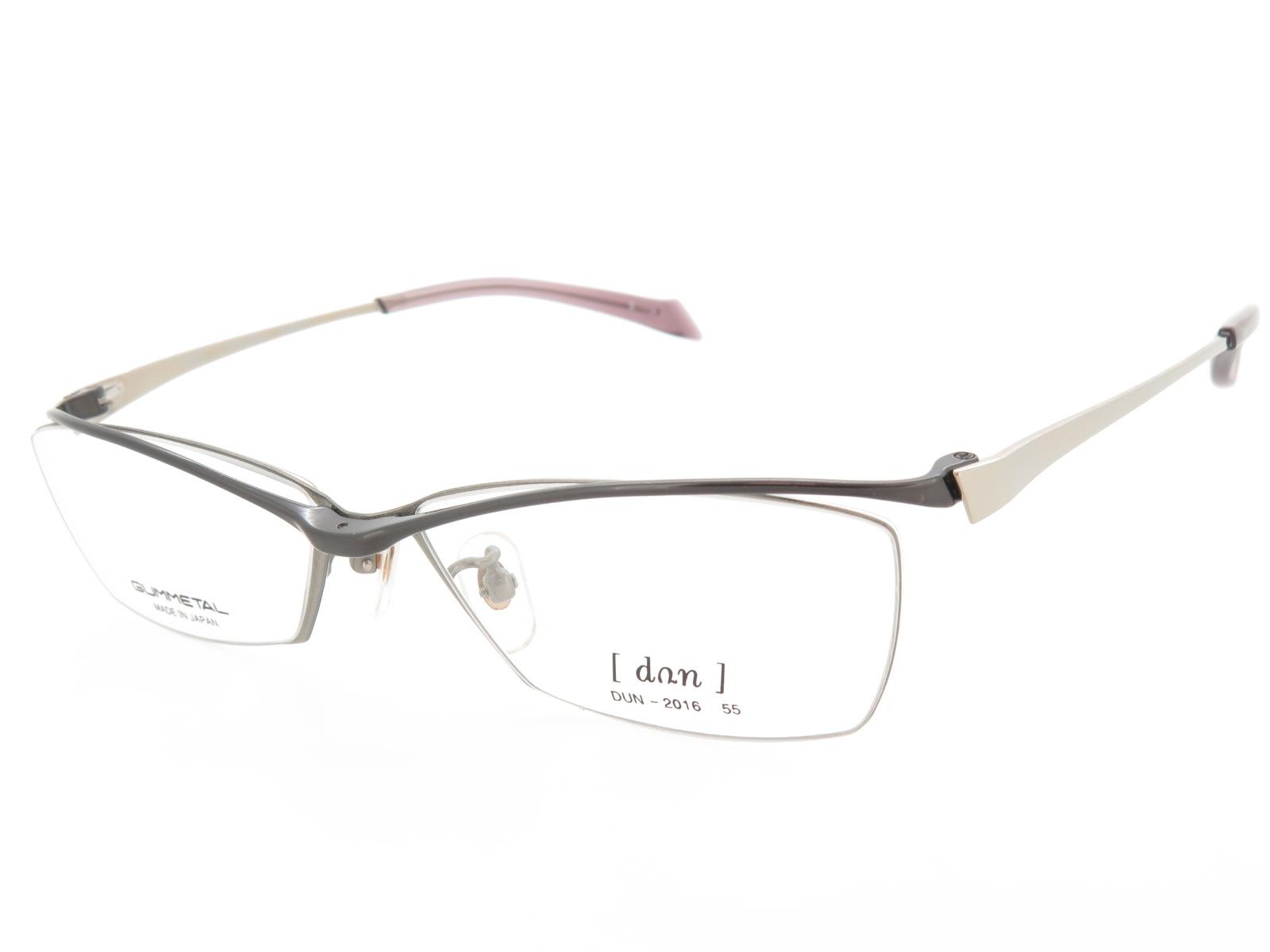 超薄型レンズ付セット ドゥアン メタルハーフリム メガネフレーム ゴムメタル DUN2016 Col.5 55サイズ 在庫処分品