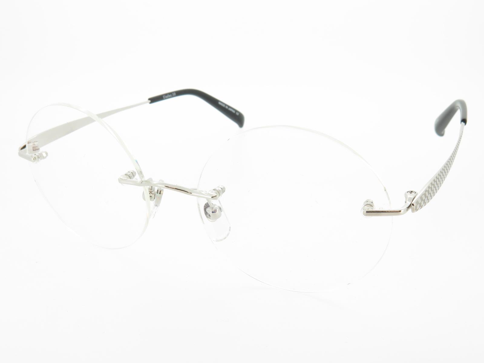ウシジマ君風 大きめ 縁なし丸メガネ UVカット付伊達メガネ 超軽量形状記憶 U102 シルバー