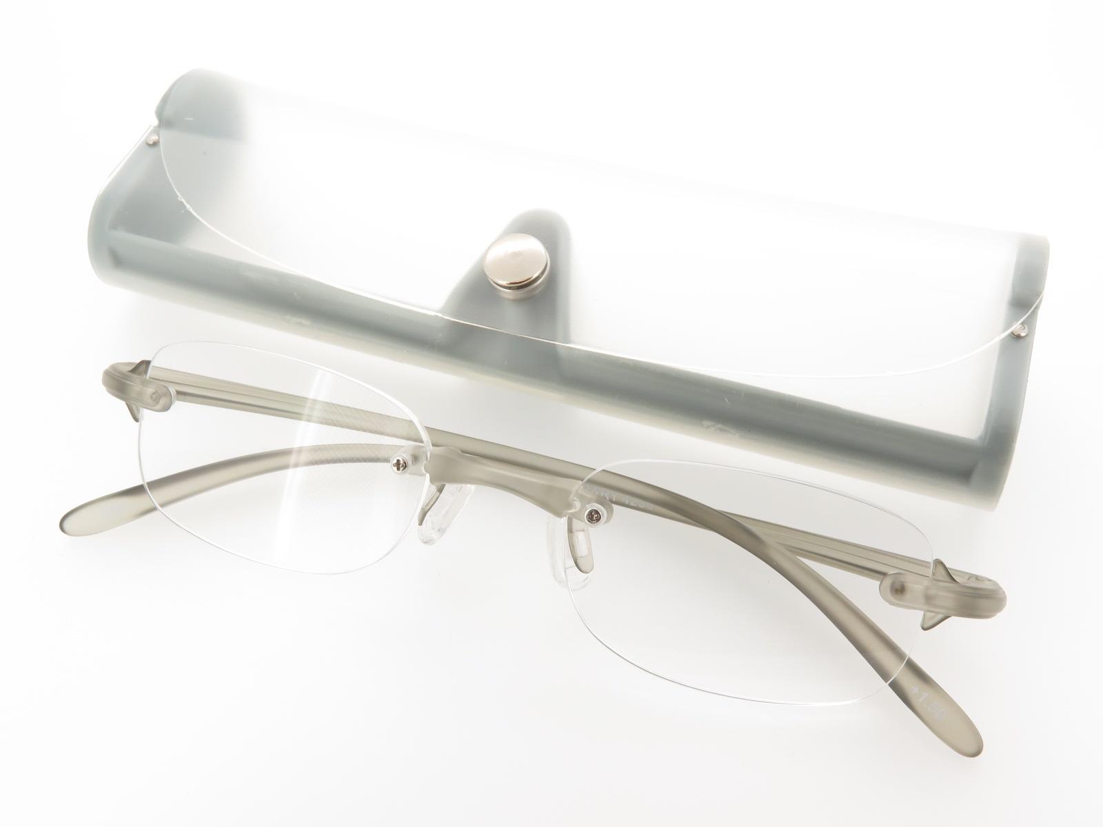 オシャレ 軽量 超弾性 コンパクト メンズ 老眼鏡 シニアグラス 非球面 縁なし グレー