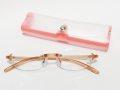 オシャレ 軽量 超弾性 コンパクト レディース 老眼鏡 シニアグラス 非球面 縁なし ピンク