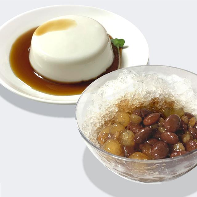 ジーマーミ豆腐と沖縄ぜんざい 盛り付け