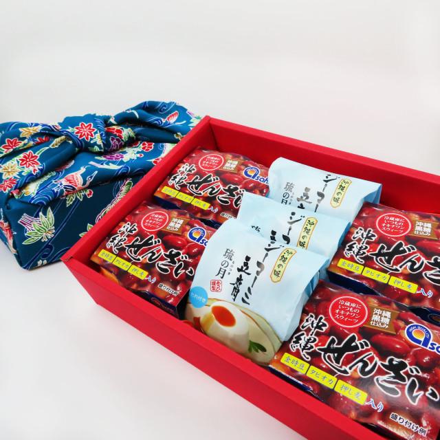 [琉球紅型風呂敷包み(青緑)] ジーマーミ豆腐と沖縄ぜんざい セット