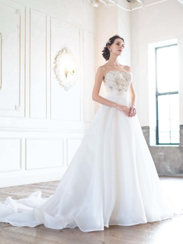 ウェディングドレス ビジュー ロングトレーン Aライン ハイウエスト アントニオリーヴァ