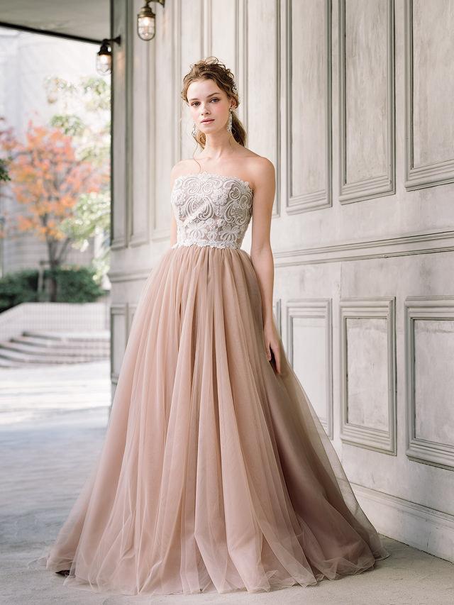 グレイッシュピンクのカラードレス ダークピンクのカラードレス シックなカラードレス