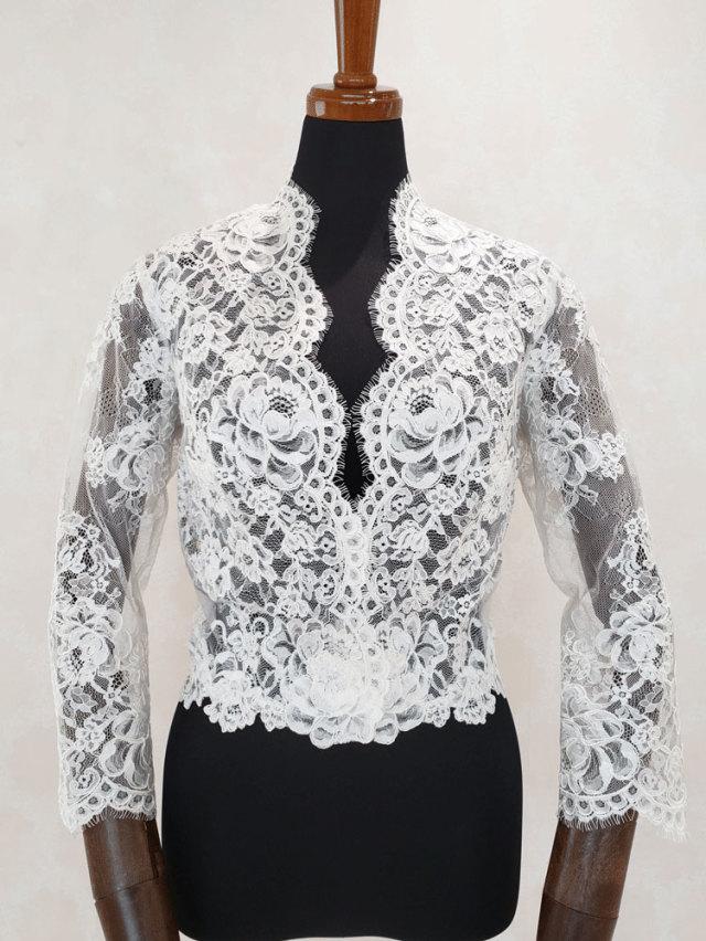 ウェディングドレス ボレロ キャサリン妃 七分袖 長袖 レースのボレロ ロングスリーブ