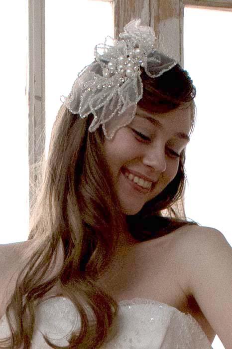 ヘッドドレス ビジュー オーガンジー