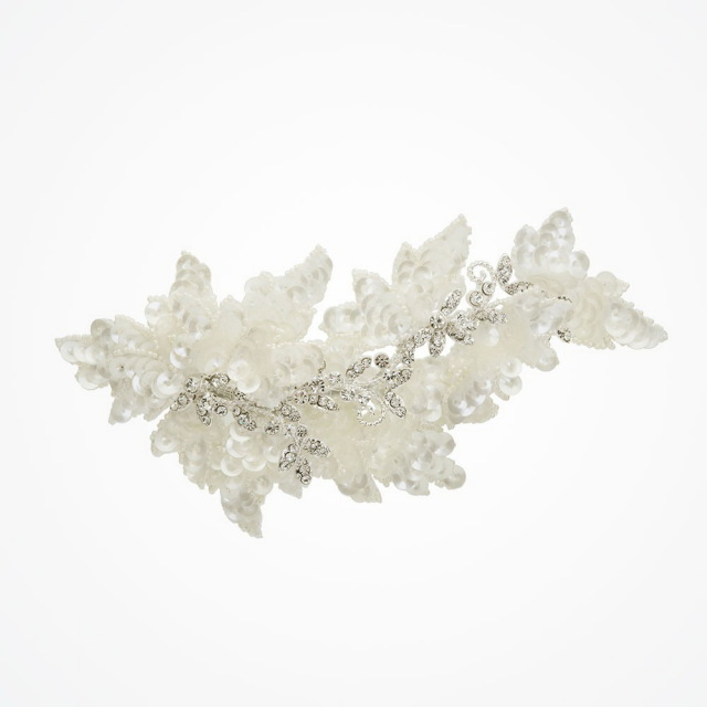 Natasha sequinned beaded floral hair clip by Ivory and Co ヘッドドレス