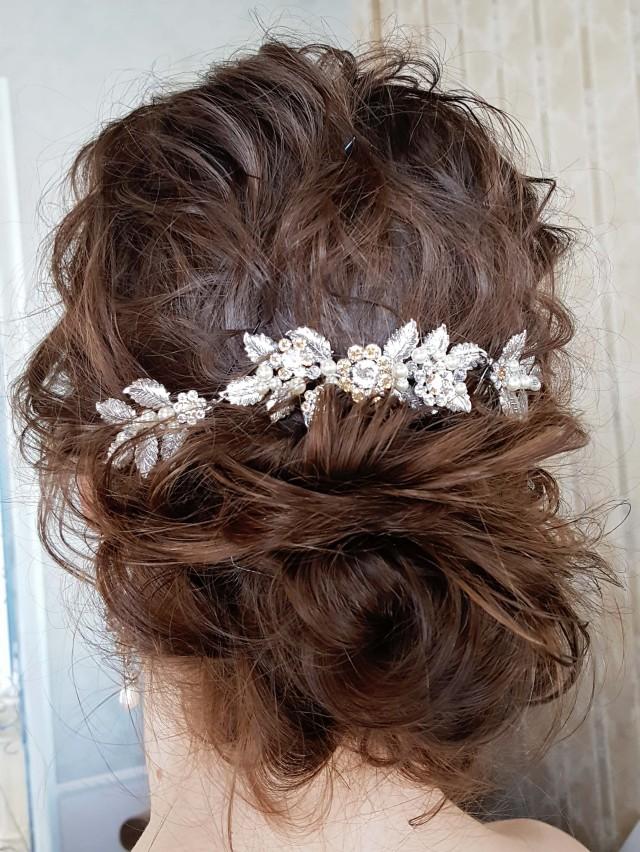 リーフモチーフのアンティークシルバーのヘッドドレス
