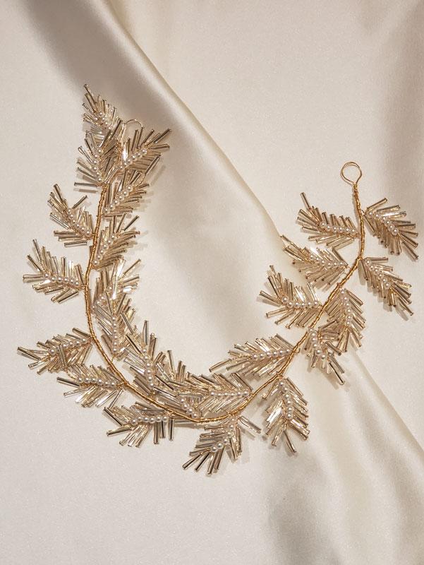 ボタニカルヘッドドレス,ゴールド,ブライダルアクセサリー