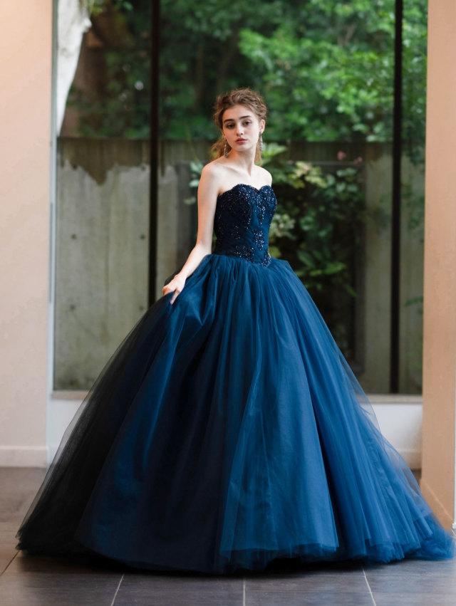 カラードレス ネイビー 紺色 チュールドレス