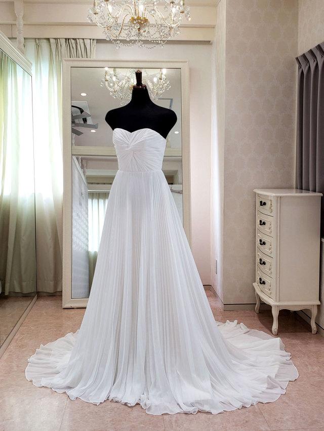 スレンダードレス プリーツ シフォン シンプル ウェディングドレス